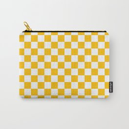 White and Amber Orange Checkerboard Carry-All Pouch