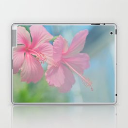 Tender macro shoot of pink hibiscus flowers Laptop & iPad Skin