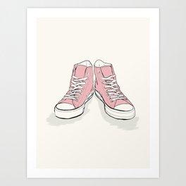 Pink Converse  Art Print
