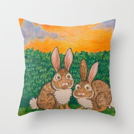 Rabbits in the Bushes Throw Pillow
