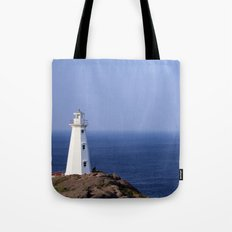 Blue Sky Lighthouse Tote Bag