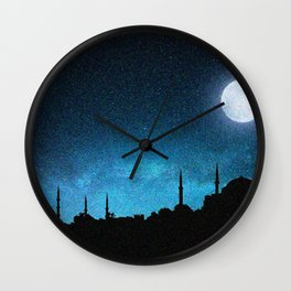 Istanbul, Hagia Sophia and Blue Mosque; Starry Night Wall Clock