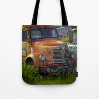 truck Tote Bags featuring Old Truck by P.C.M. ART PHOTOGRAPHY