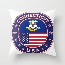 Connecticut, Connecticut t-shirt, Connecticut sticker, circle, Connecticut flag, white bg Throw Pillow