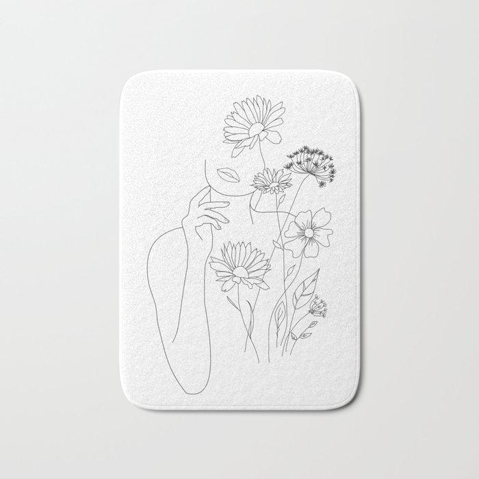 Minimal Line Art Woman with Flowers III Badematte