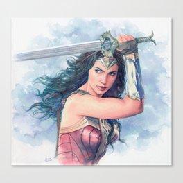 WonderWoman watercolor 2 Canvas Print