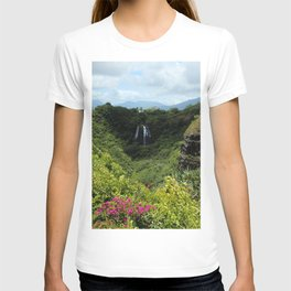 Mountain waterfalls and floral T-shirt