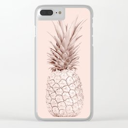 Rose Gold Pineapple on Blush Pink Clear iPhone Case
