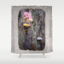 Disabled, colorful doll sitting on the bracket fungus Shower Curtain