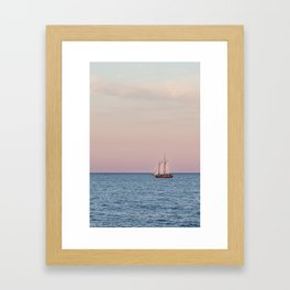 Red Witch Tall Ship in Kenosha, WI at Golden Hour Framed Art Print