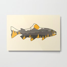 Fly Fishing Golden Mountain Trout Outline Metal Print