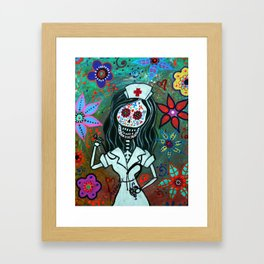 MY FAVORITE NURSE MEXICAN DAY OF THE DEAD PAINTING Framed Art Print