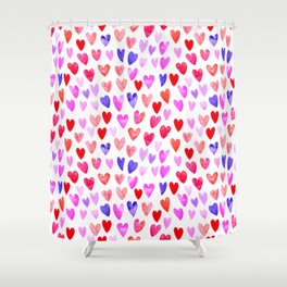 Watercolor Hearts pattern love gifts for valentines day i love you Shower Curtain