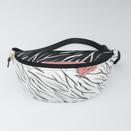 Black and white tiger pattern with pink bow. Fanny Pack