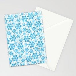 Marijuana snowflake pattern,blue cannabis leaf pattern white background Stationery Cards
