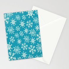 Snowflakes Pattern (Blue) Stationery Cards