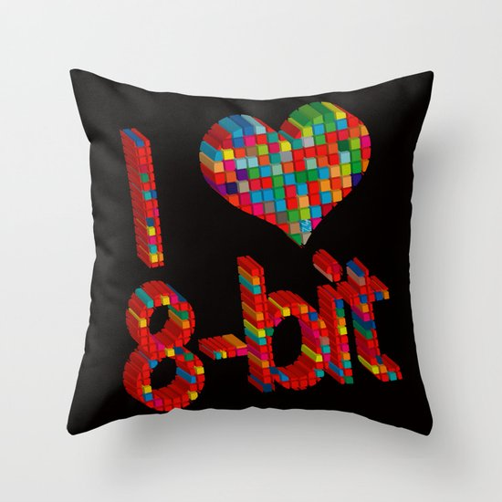 i heart 8-bit Throw Pillow