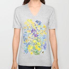 purple blue and yellow flowers bouquet watercolor   Unisex V-Neck