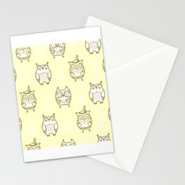 Yellow Owls Stationery Cards