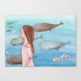Sleeping whales Canvas Print