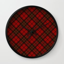 Adorable Red Christmas tartan Wall Clock