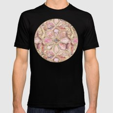Geometric Gilded Stone Tiles in Blush Pink, Peach and Coral Black Mens Fitted Tee LARGE