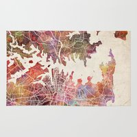 sydney Area & Throw Rugs featuring Sydney by MapMapMaps.Watercolors
