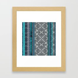 Teal, Aqua & Grey Vintage Bohemian Wallpaper Stripes Framed Art Print