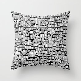 Book Lover Heart Library Pattern Throw Pillow