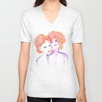 klimt V-neck T-shirts featuring Klimt Mistresses by Nicola MacNeil