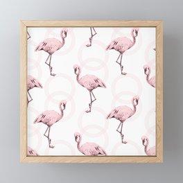 Mod Flamingos on Flamingo Pink Infinity Link Framed Mini Art Print