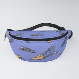 Trendy ultraviolet pattern with carrot and celery Fanny Pack