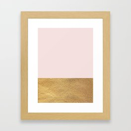 Color Blocked Gold & Rose Framed Art Print