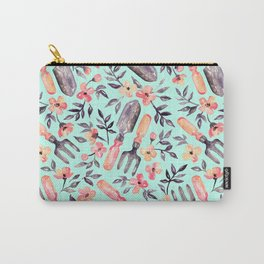 Spring Gardening - peach blossoms on mint Carry-All Pouch