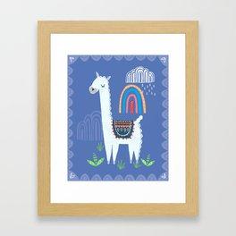 Llama rainbow print Framed Art Print