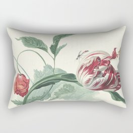 Tulip and a Poppy Vintage Botanical Art Rectangular Pillow