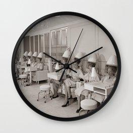 Retro Beauty Salon, Hair Dryers, Vintage Photograph Wall Clock