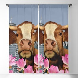 Singapur Skyline with Lotos Flowers and brown Cow Illustration Blackout Curtain