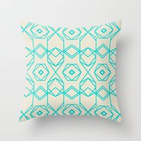 hexagon Throw Pillows featuring Hexagon by TURQUOISE DAYS