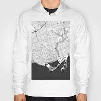 toronto Hoodies featuring Toronto Map Gray by City Art Posters