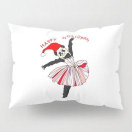 Happy Holidays Secret Santa Panda Ballerina Pillow Sham
