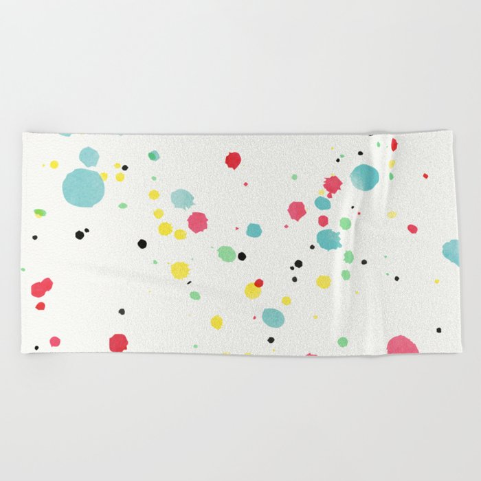 Watercolor splatters on white leather Beach Towel