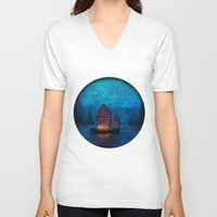 jazzberry blue V-neck T-shirts featuring Our Secret Harbor by Aimee Stewart