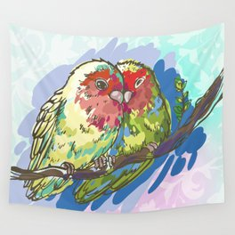 Expressive Parrots Lovebirds Wall Tapestry