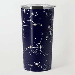 Zodiac Constellations in Night Navy Travel Mug