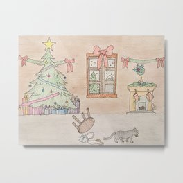 Mischievous Christmas cat Metal Print