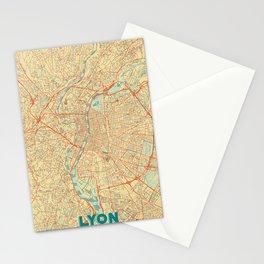 Lyon Map Retro Stationery Cards