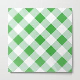 Gingham - Green Metal Print