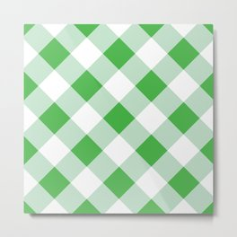 Gingham - Green Metal Print