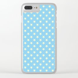 Cream Yellow on Baby Blue Stars Clear iPhone Case